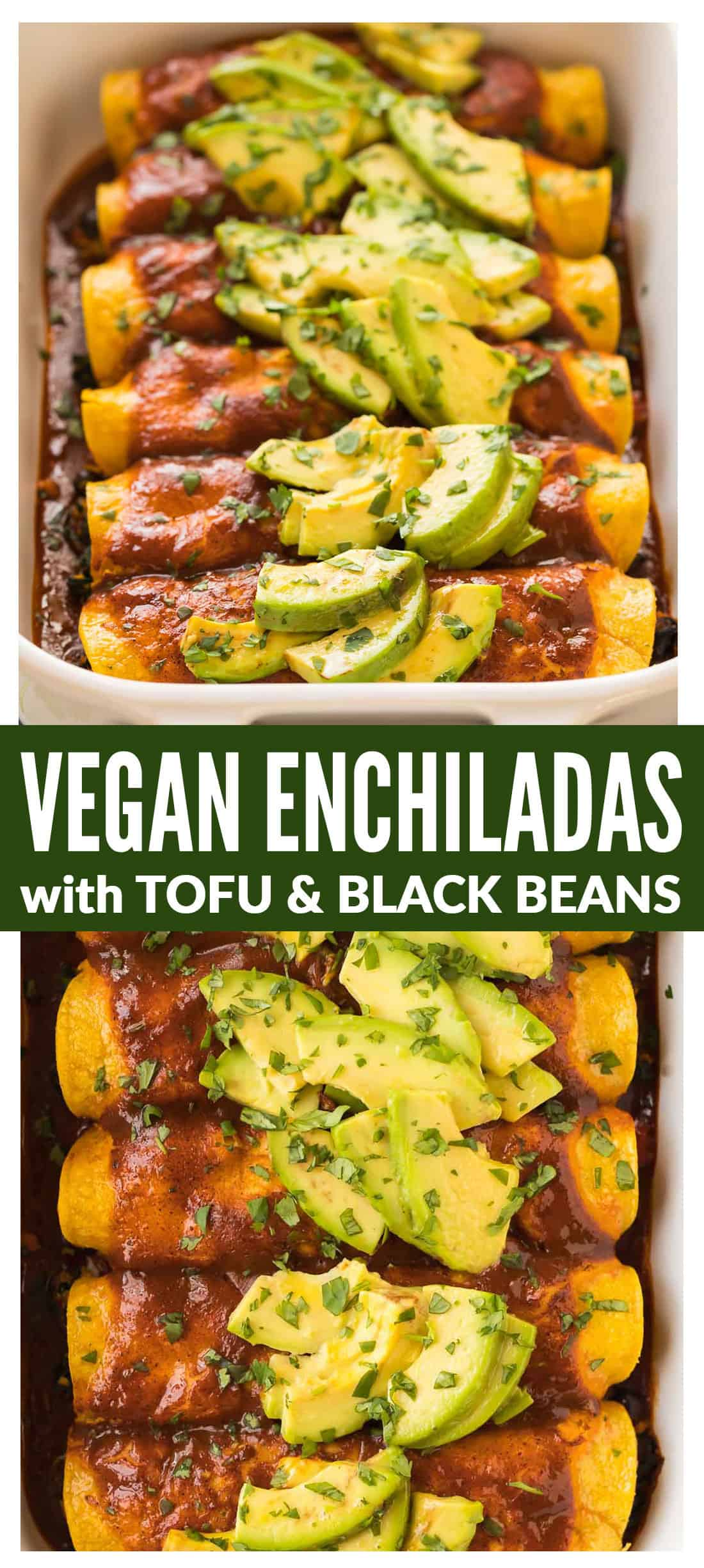 Easy Vegan Enchiladas with tofu, spinach, and black bean filling, topped with a rich and flavorful red enchilada sauce and avocado. This recipe is THE BEST! Healthy, packed with protein, entirely plant based, dairy free (you won't miss the cheese!), and gluten free. Casserole is freezer friendly and can be made in advance. #easy #vegan #enchiladas #healthy