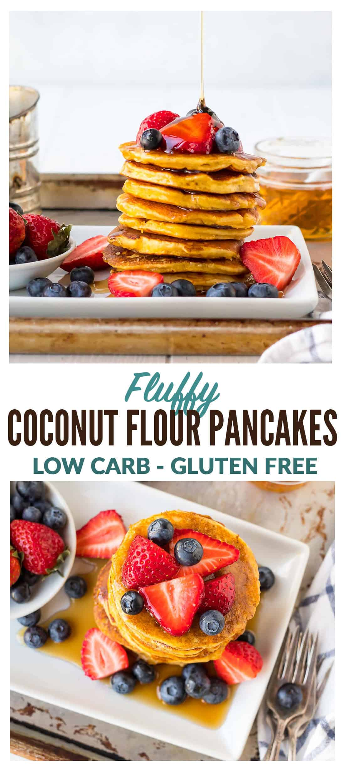 Fluffy low carb coconut flour pancakes! Light, tender pancakes made with coconut flour. High protein and easy to freeze for healthy breakfasts. Add banana, lemon, or any of your favorite toppings! Gluten free, paleo-friendly, grain free. #lowcarb #coconutflourpancakes #healthy #coconutflour