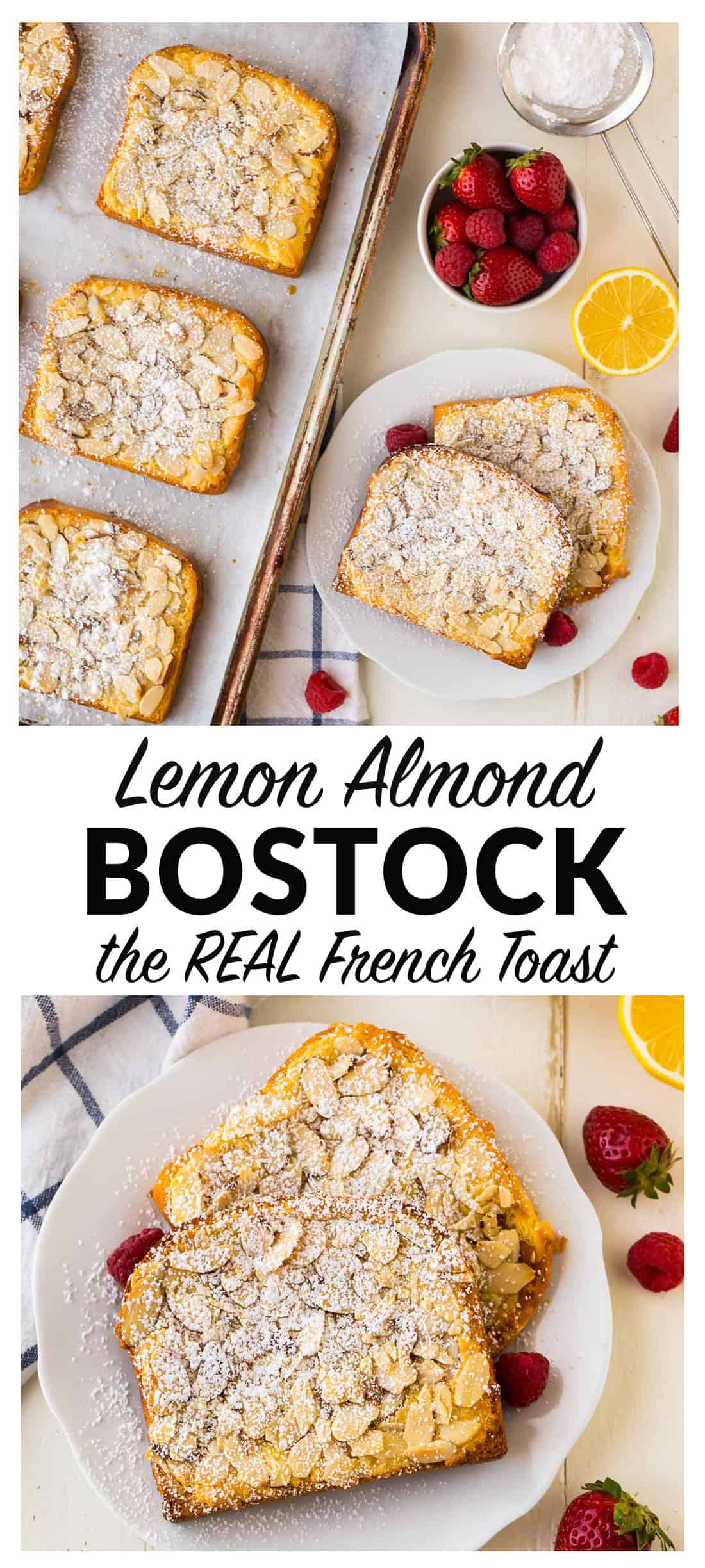 How to make Bostock pastry: Brioche soaked in syrup and topped with lemon almond cream, sliced almonds, and baked, brioche bostock tastes like the absolute best French breakfast toast you've ever eaten!  #bostock #french #pastry