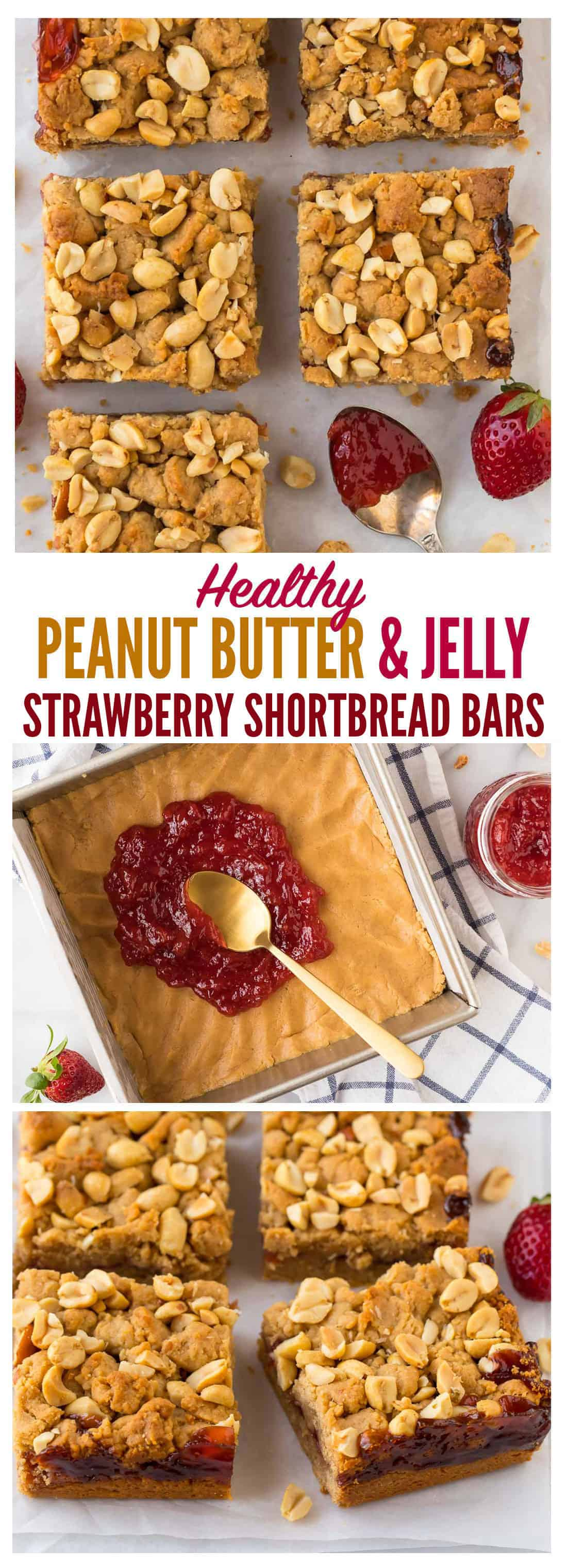 Soft and buttery healthy Strawberry Jam Bars. Easy and DELICIOUS! Two layers of peanut butter shortbread cookie with a layer of sweet strawberry preserves in between. They taste like a thumbprint cookie but are much easier to make! One of the best healthy strawberry dessert recipes. Kids love them too! #strawberry #strawberrjam #healthy #dessertrecipes