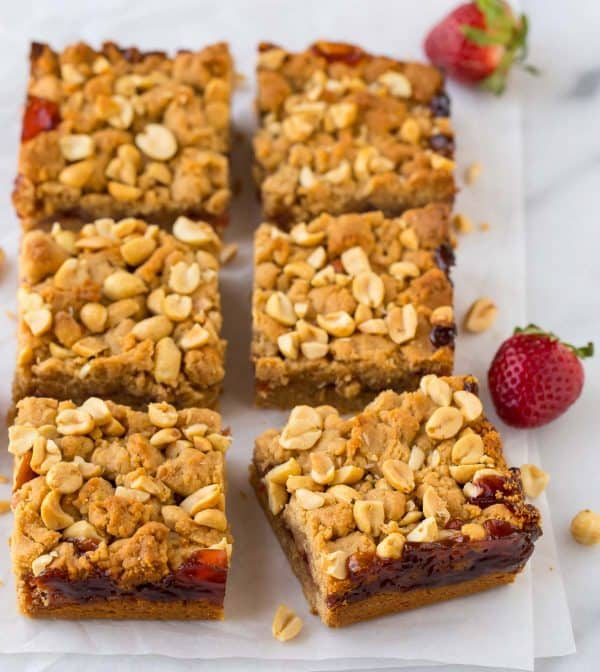Strawberry Jam Bars. The classic flavors of peanut butter and jelly in an easy dessert!