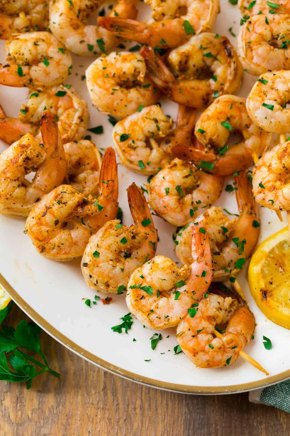 Lemon and Garlic Grilled Shrimp Skewers
