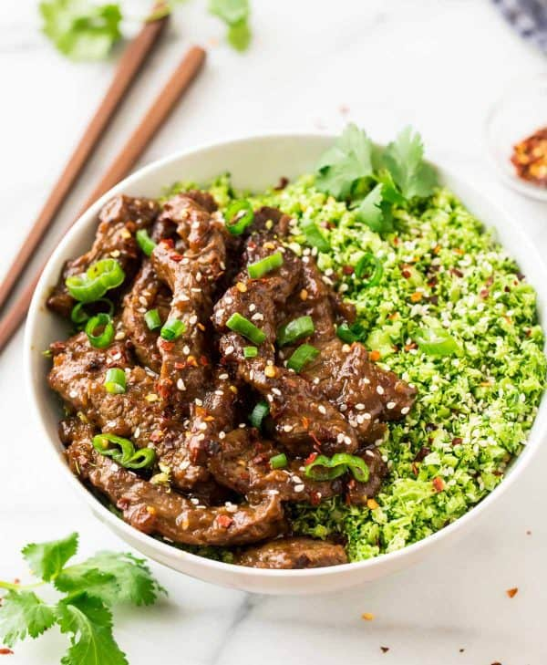 Healthy Beef and Broccoli is quick, tasty, and made with broccoli rice instead of white rice!
