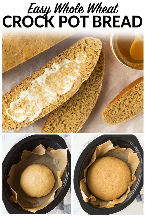 How to Bake Crock Pot Bread in the slow cooker. Easy, healthy homemade whole wheat crock pot bread, no rising required! Use this fool proof method for any of your favorite bread recipes. #crockpot #slowcooker #bread #wholewheat #healthy