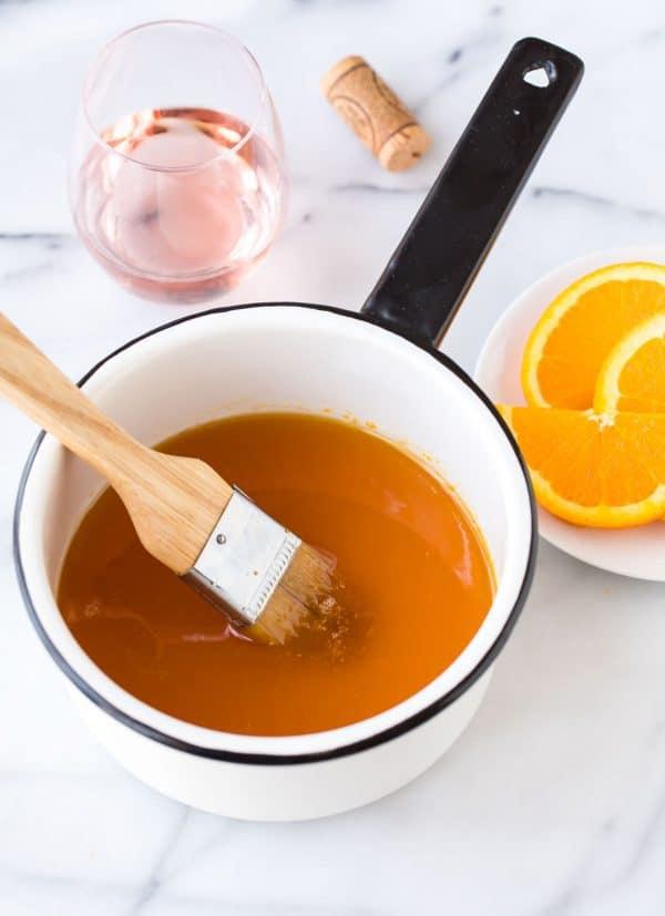 Orange Rosé Wine Cake Soak with orange juice, rose, and vanilla.