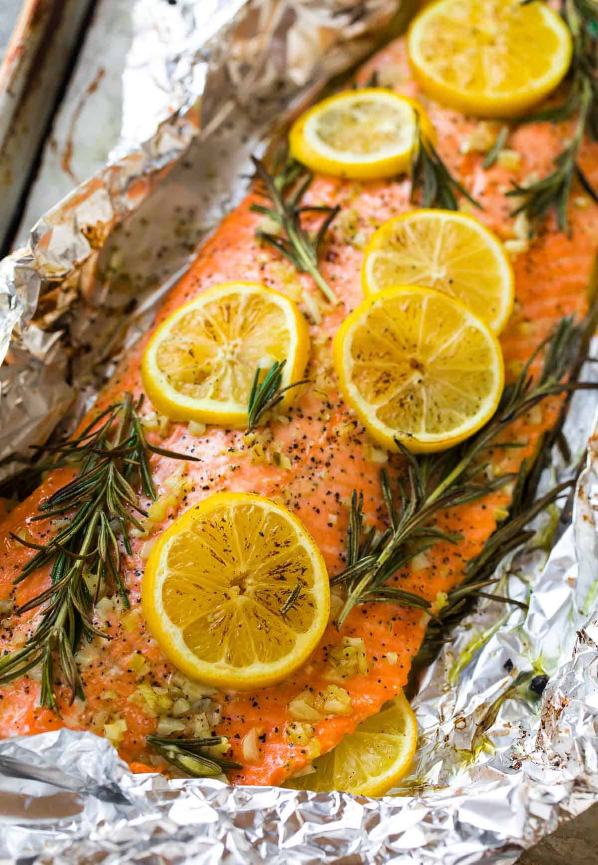 Garlic Baked Salmon in Foil. A heathy, easy baked salmon recipe.