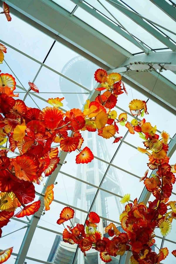 A glass ceiling inside a building