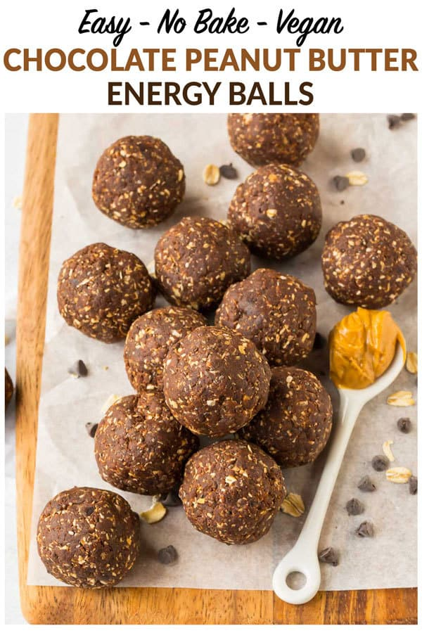 No Bake Chocolate Peanut Butter Energy Balls. One of the best healthy snacks! These easy vegan protein bites with chia seeds are naturally gluten free, low calorie, and perfect for on-the-go healthy breakfasts and sweet treats. #energyballs #glutenfree #energybites #proteinballs #vegan #raw #proteinbites #postworkout