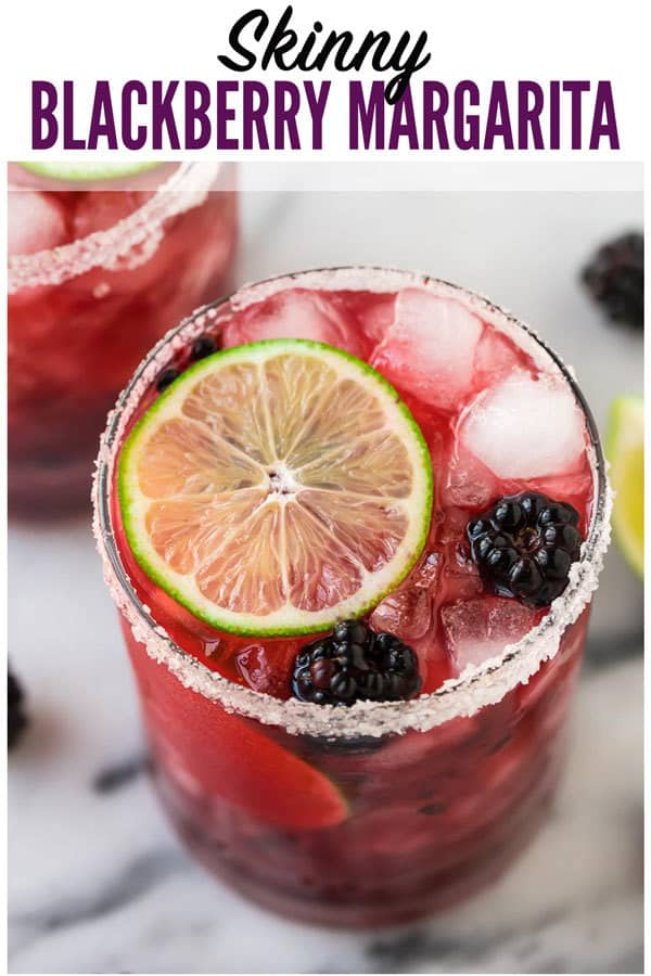 Skinny Blackberry Margarita. Simple, easy recipe with fresh lime juice, tequila, agave or simple syrup, and frozen or fresh berries. Better than Chili's or Chuys! Ultra refreshing. Recipe can make just one or a whole pitcher for a party! #wellplated #margarita #cocktails #drinks