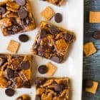 Healthy S'mores Treats. Tastes just like a s'more, with less mess! So much better than the original Golden Grams stores recipe. Made with Golden Grahams cereal, peanut butter, and brown rice syrup. The perfect no bake dessert for summer parties and potlucks and a great healthy dessert option for kids!
