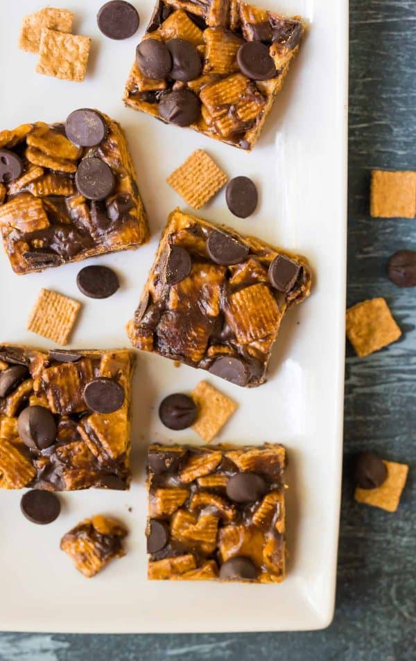 Healthy S'mores Treats. Indoor s'mores with less mess! So much better than the original Golden Grams smores recipe. Made with Golden Grahams cereal, peanut butter, and brown rice syrup. The perfect no bake dessert for summer parties and potlucks and a great healthy dessert option for kids!
