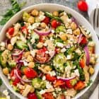 Healthy, easy Chickpea Tuna Salad. A bright, healthy meal prep salad that's perfect for healthy lunches and healthy dinners! One of our favorite vegetarian recipes. Gluten free and packed with protein and fresh veggies!