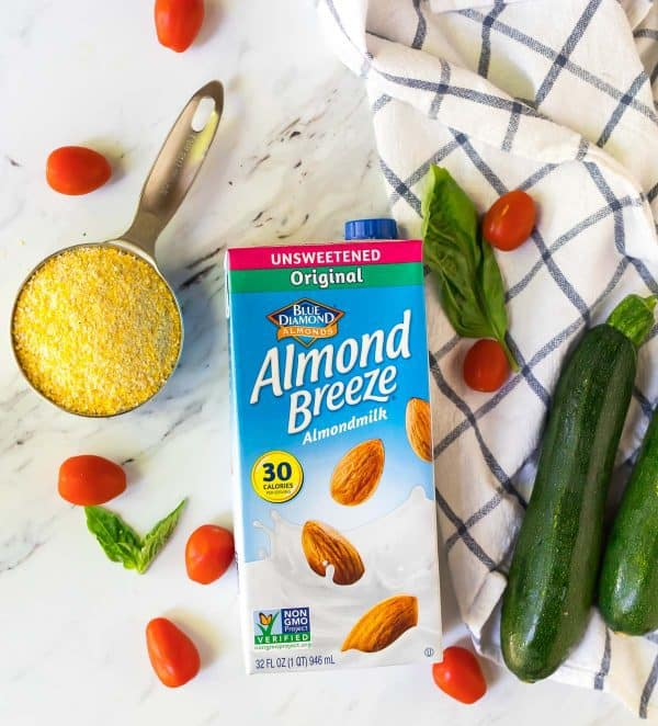 Almond milk used to make vegan creamy polenta recipe.