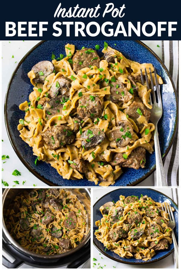Instant Pot Beef Stroganoff. No canned soup! Easy, healthy beef stroganoff from scratch in the electric pressure cooker. Recipe uses Greek yogurt instead of sour cream and whole wheat noodles. #wellplated #instantpot #beefstroganoff #pressurecooker #healthyrecipes