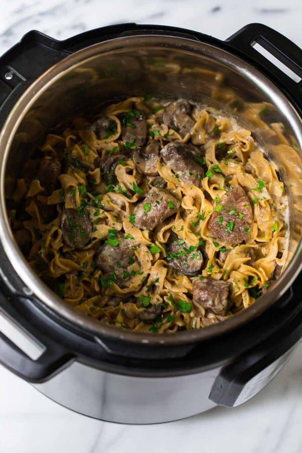 Healthy Instant Pot Beef Stroganoff
