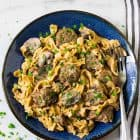 Instant Pot Beef Stroganoff. No canned soup! Easy, healthy beef stroganoff from scratch in the electric pressure cooker. Recipe uses Greek yogurt instead of sour cream and whole wheat noodles.