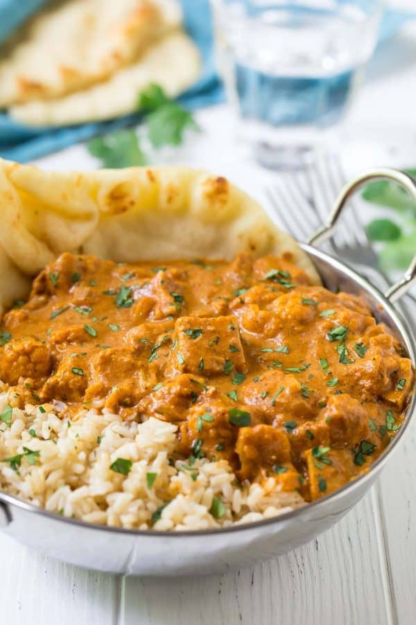 Instant Pot Butter Chicken. One of THE BEST healthy Instant Pot recipes and Instant Pot chicken recipes! Made with coconut milk, cauliflower, and other easy to find ingredients.