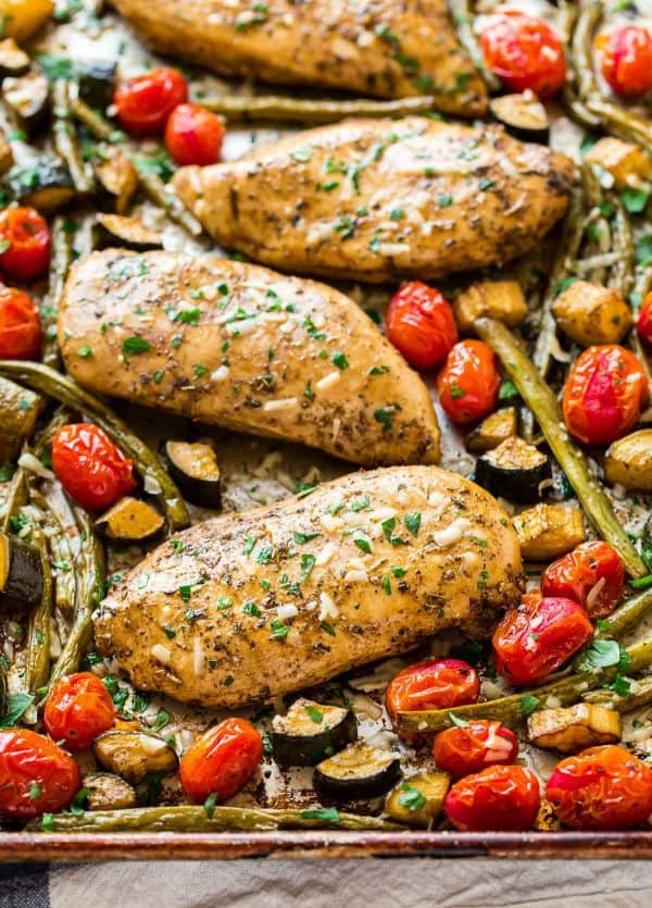 Sheet Pan Italian Chicken With Tomatoes And Vegetables