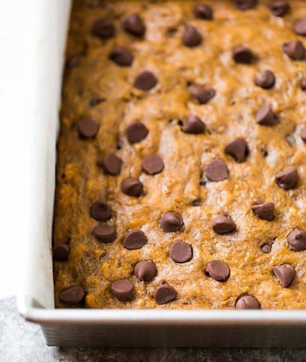 Healthy Banana Bars with Chocolate Chips. An easy dessert recipe!