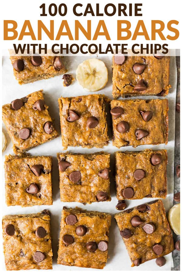 Healthy Banana Bars with Chocolate Chips. Moist, chewy, and easy to make. Kids love them and they are perfect for healthy desserts and snacks! Top with peanut butter frosting or brown butter frosting or enjoy them just as they are. One of the best skinny dessert recipes! #wellplated #healthydesserts #easydessert #bananabars