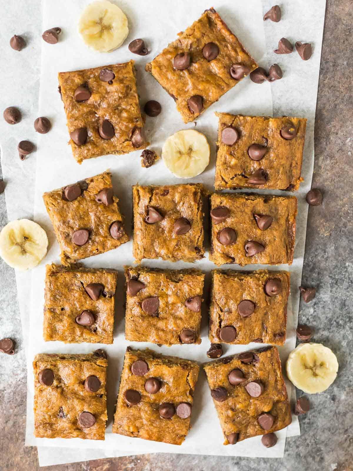Healthy baked banana bars