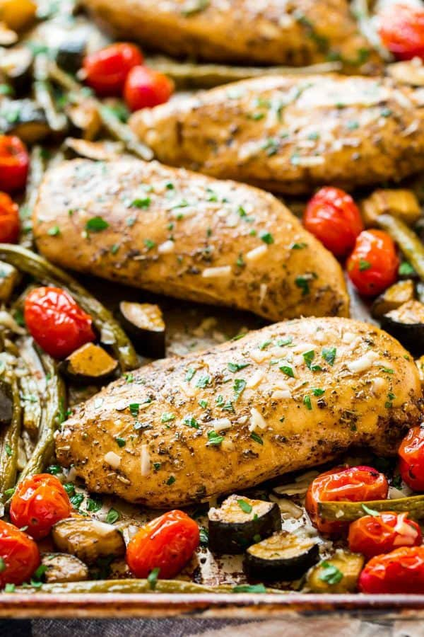 Sheet Pan Italian Chicken with Tomatoes. One of our favorite easy, healthy weeknight dinner recipes!