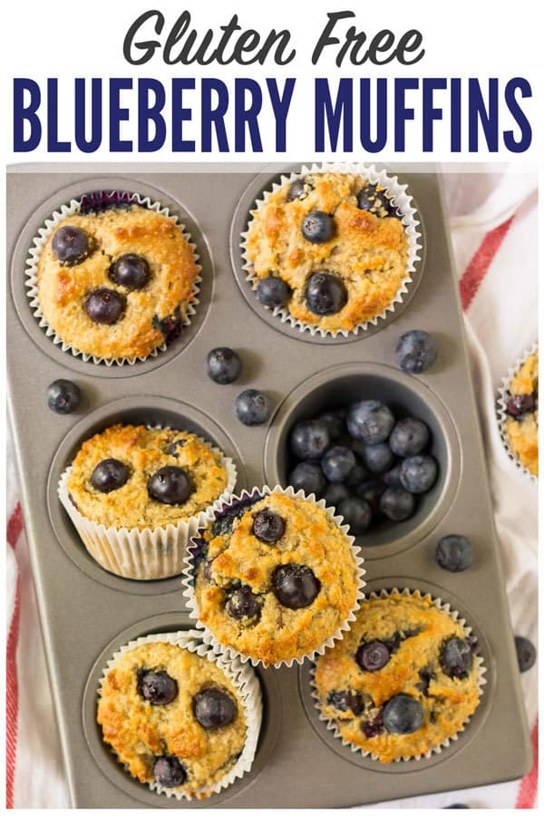 Fluffy and moist Gluten Free Muffins with blueberries! This easy gluten free muffin recipe is made with almond flour and contains NO SUGAR! Naturally sweetened with banana and pure maple syrup. #wellplated #glutenfree #muffins #healthy #easy #blueberry