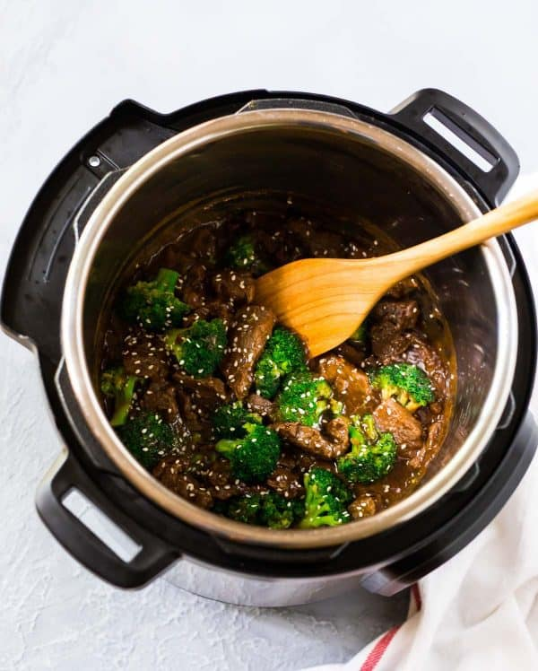 Easy Instant Pot Beef and Broccoli with Rice and Mongolian sauce