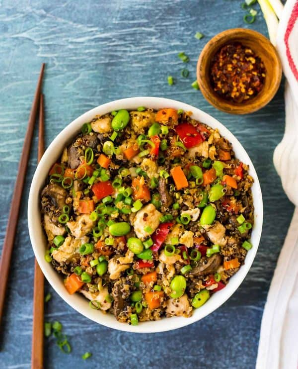 Healthy Quinoa Fried Rice with Shrimp or Chicken and Vegetables