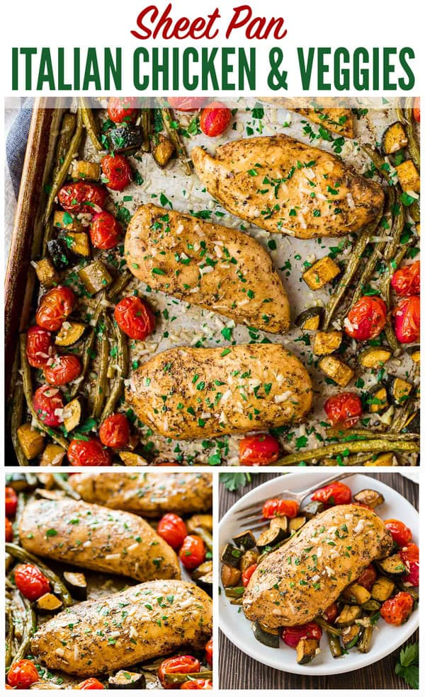 Baked Italian Chicken with Vegetables. Flavor-packed chicken breasts with tomatoes, zucchini, and any other fresh vegetables you love. Everything cooks on ONE PAN in the oven for an easy, healthy dinner! Great for meal prep and the the balsamic Italian chicken marinade is to die for. #wellplated #easy #healthy #italian #mealprep