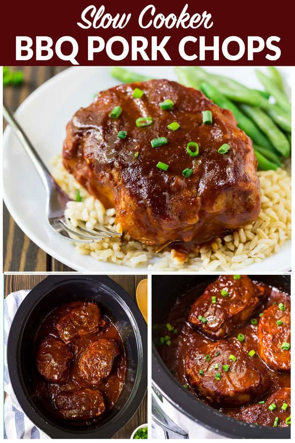 Slow Cooker BBQ Pork Chops. Fork TENDER, easy, and delicious! One of the best crock pot recipes for weeknight meals. Add potatoes and onions or keep it simple with your favorite BBQ sauce. #wellplated #easyrecipes #crockpot #slowcooker #crockpotmeals