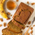 Healthy Pumpkin Banana Bread! Moist and tender with the perfect amount of spices. Easy one bowl recipe that's delicious with chocolate chips, nuts, or any of your favorite mix-ins.
