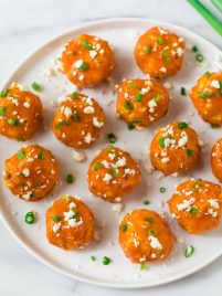 Slow Cooker Buffalo Chicken Meatballs. An easy, DELISH appetizer for football games and easy meals! Fun and healthy, these low slow cooker chicken meatballs are great for parties, family dinners, and the Super Bowl too.