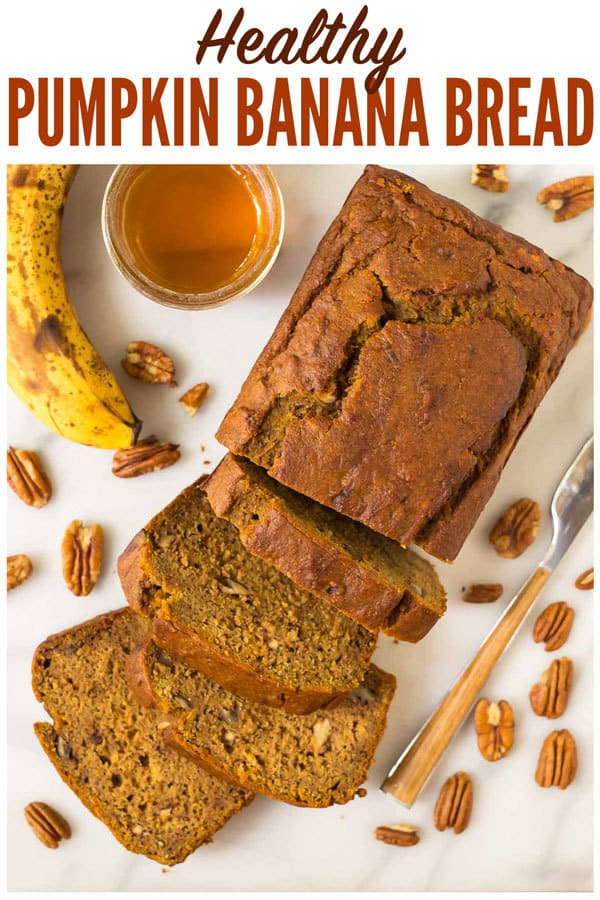 Healthy Pumpkin Banana Bread! SO moist, tender, and delicious! Whole wheat and made with yogurt and honey, this easy one bowl recipe is delicious with chocolate chips, nuts, or any of your favorite mix-ins. #wellplated #pumpkin  #healthy #breakfast #easy #pumpkinbread #bananabread