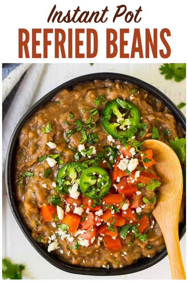 How to make the BEST Instant Pot Refried Beans! Easy no soak recipe. Healthy, vegan, and perfect for all of your favorite Mexican dishes! One of the best pressure cooking recipes.#wellplated #instantpot #refriedbeans #pressurecooking