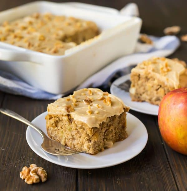 Delicious Fresh Apple Cake, made with apples, walnuts, and caramel cream cheese frosting.