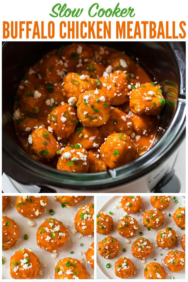 Slow Cooker Buffalo Chicken Meatballs. An easy, DELISH appetizer for football games and easy meals! Fun and healthy, these low slow cooker chicken meatballs are great for parties, family dinners, and the Super Bowl too. #wellplated #buffalochicken #slowcooker #crockpot