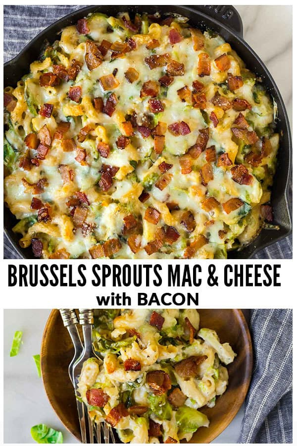 Brussels Sprouts Mac and Cheese with Bacon. Creamy, cheesy, and absolutely delicious! One of the best comfort foods for weeknight dinner, Thanksgiving sides, or holiday recipes. #wellplated #macandcheese #healthy