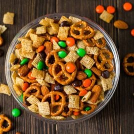 Sweet and Salty Halloween Party Mix with Chex Cereal, Chocolate, and Orange