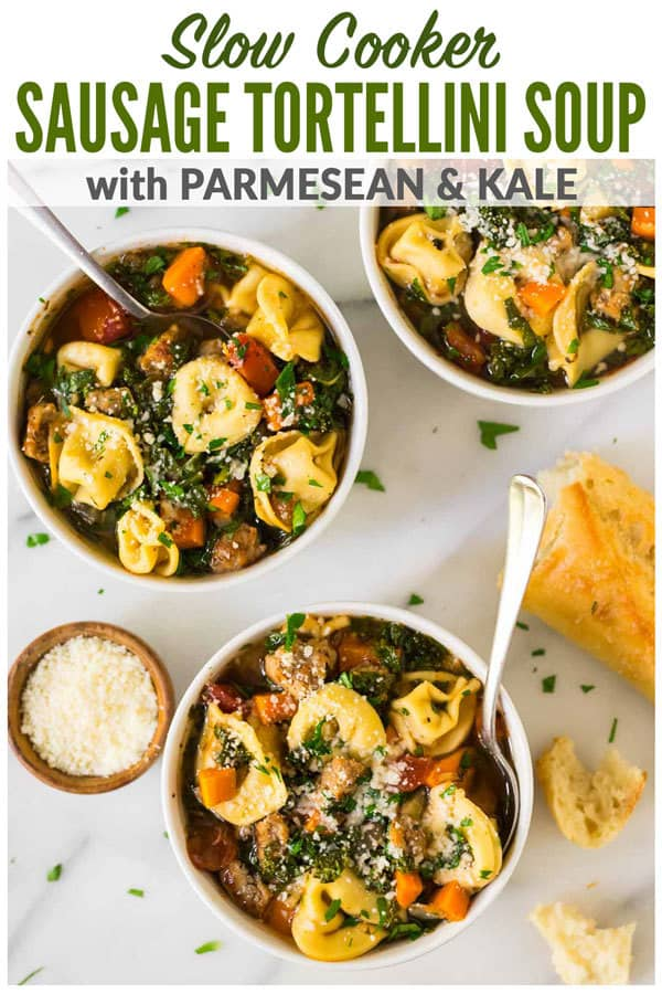 Italian Crockpot Tortellini Soup with sausage and kale. An easy, healthy crockpot recipe with chicken or turkey sausage, spinach or kale, and cheese. Creamy and comforting, this slow cooker Tuscan soup is one of the best crockpot recipes! #wellplated #crockpot #soup