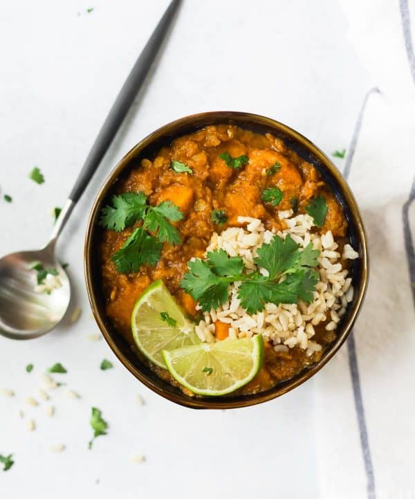 Slow Cooker Red Lentil Curry with Sweet Potato is an easy vegan dinner that's great for meal prep!