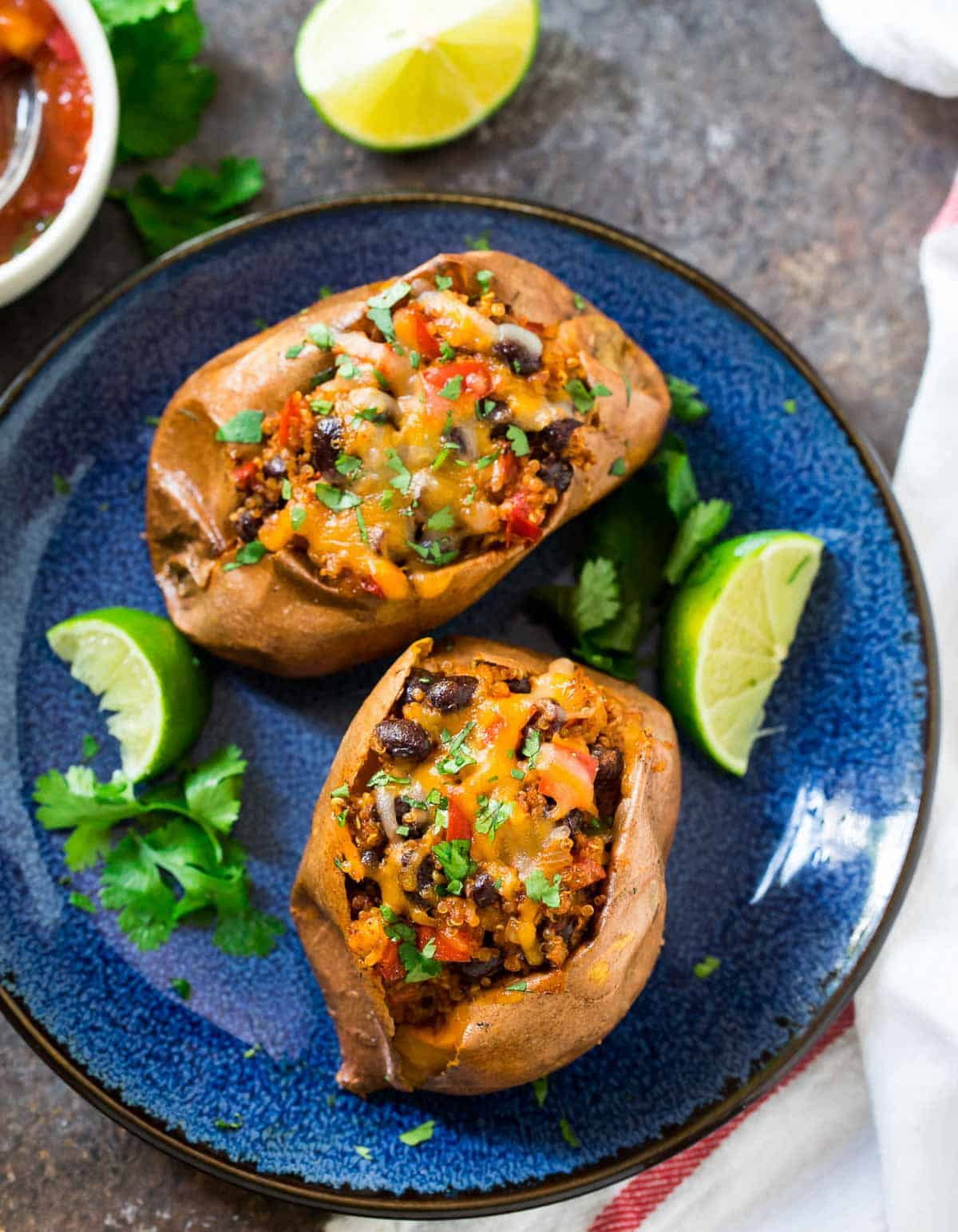 Stuffed Sweet Potatoes Easy Vegetarian Recipe Wellplated Com