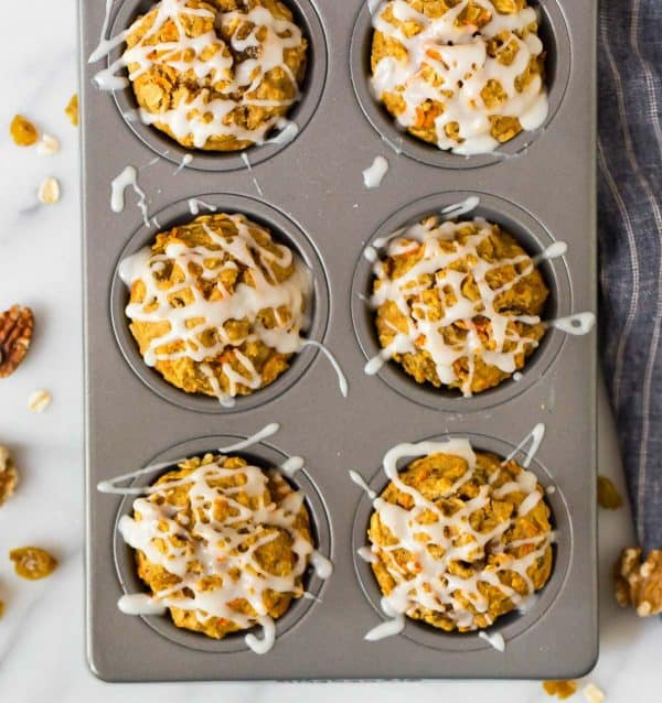 Moist Apple Carrot Muffins. The perfect healthy breakfast or snack!