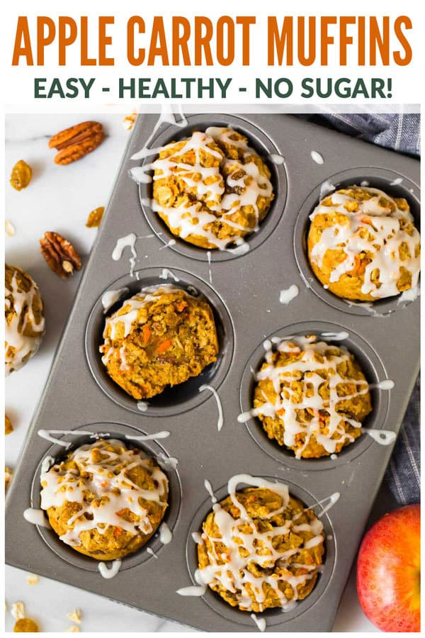 Moist Apple Carrot Muffins. An easy and healthy recipe with no sugar! Made with oatmeal, Greek yogurt, and maple syrup, they are naturally sweetened, filling, and great for healthy breakfasts and snacks. A favorite for toddlers AND for adults! #wellplated #muffins #healthy