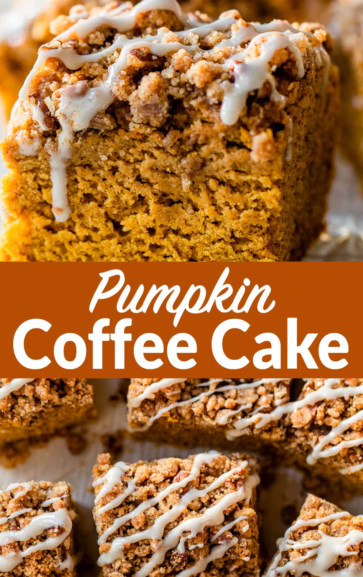 Healthy Pumpkin Coffee Cake with Streusel Topping and Maple Glaze. Easy, moist, and PACKED with warm fall spices and maple flavor. This is the best from-scratch pumpkin cake recipe! No mix needed! #wellplated #pumpkin #coffeecake