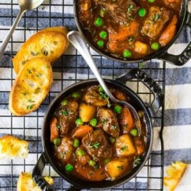 Easy, healthy Instant Pot Beef Stew. Fall-apart tender beef in the most flavorful sauce! Loaded with veggies, Paleo, gluten free, and Whole 30 friendly.