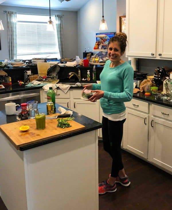 Seriously messy kitchen during the recipe development process for a healthy cookbook