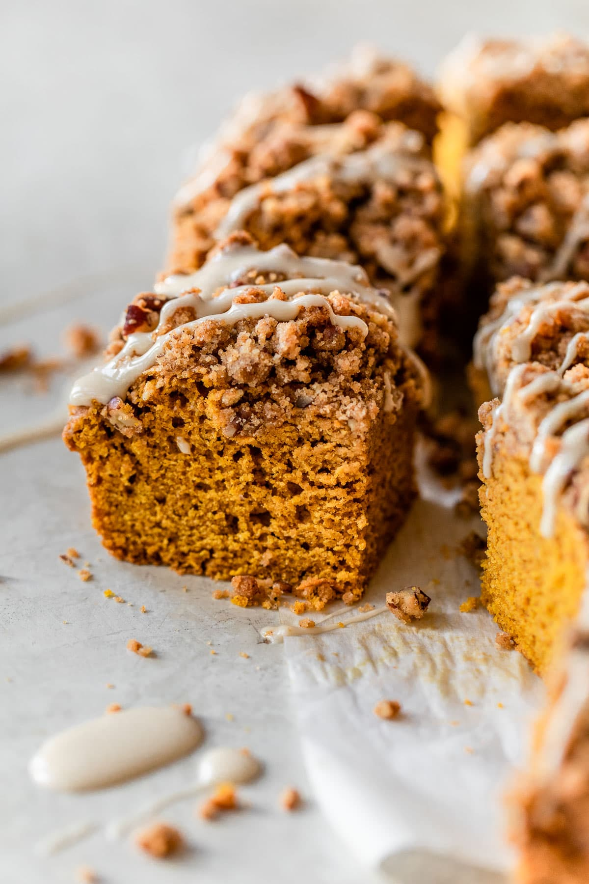 Easy Pumpkin Coffee Cake with streusel and maple glaze. Best brunch dish!