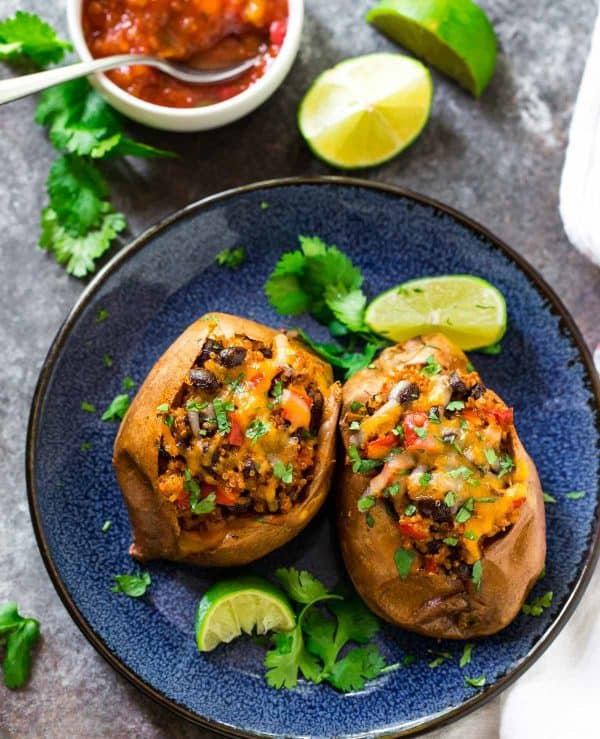 These savory stuffed sweet potatoes have an awesome Southwest-inspired flavor. Perfect for meal prep!