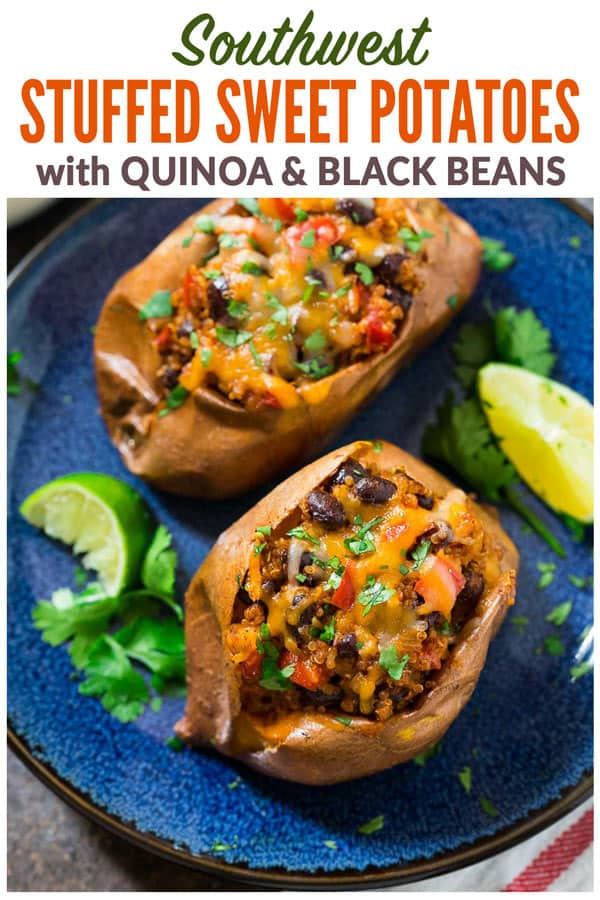 Healthy Southwest Stuffed Sweet Potatoes with Black Beans and Quinoa. A protein packed, delicious vegetarian recipe! Flavorful, not too spicy, and great for meatless meals. These savory stuffed sweet potatoes are easy, budget-friendly, and can be baked in advance for meal prep lunches and dinners! #wellplated #healthy #vegetarian #sweetpotatoes